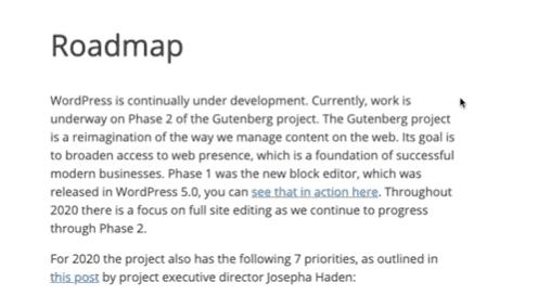 WordPress 的 Roadmap 將會出現的新版本和功能,2020 年有 7 個事項範圍要處理